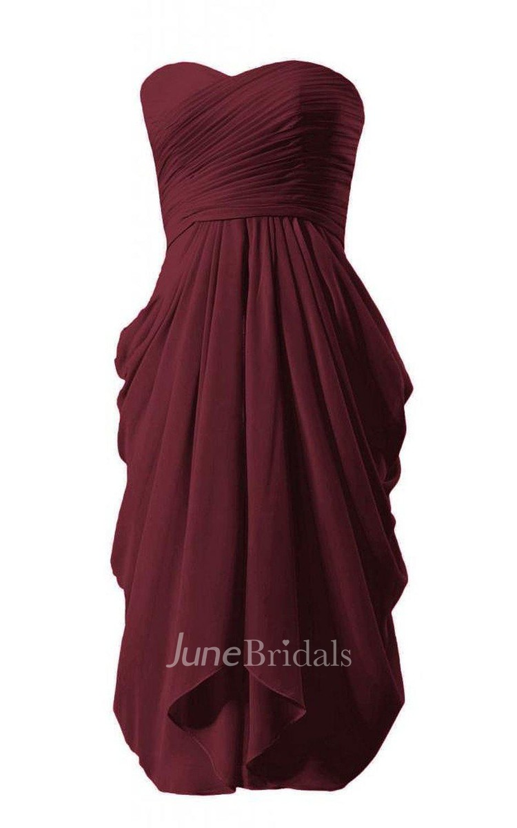 69a1cde1b Strapless Chiffon Dress With Ruched Bodice - June Bridals
