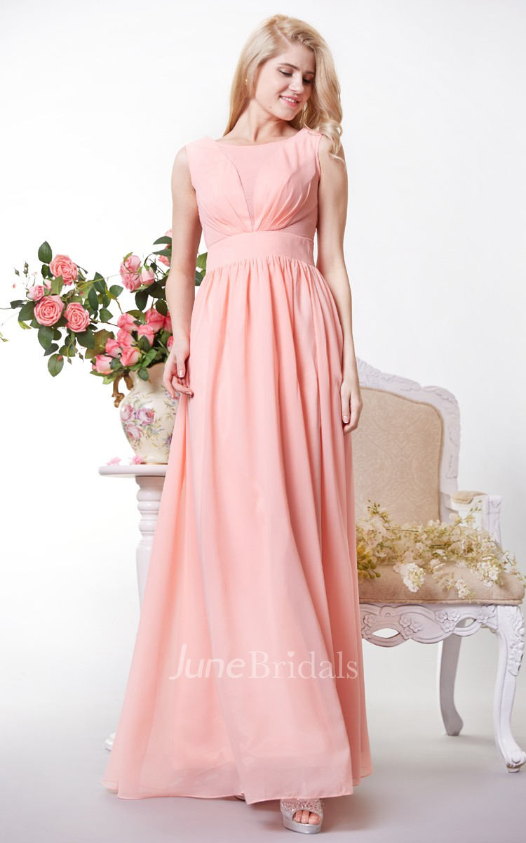 84268bd6f Chic Bateau Neck A-line Chiffon Gown With V Back - June Bridals