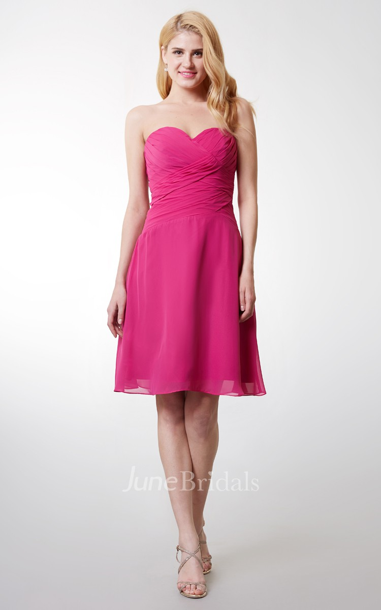 46d09cb13 Sweetheart Ruched Short Chiffon Dress With Backless - June Bridals