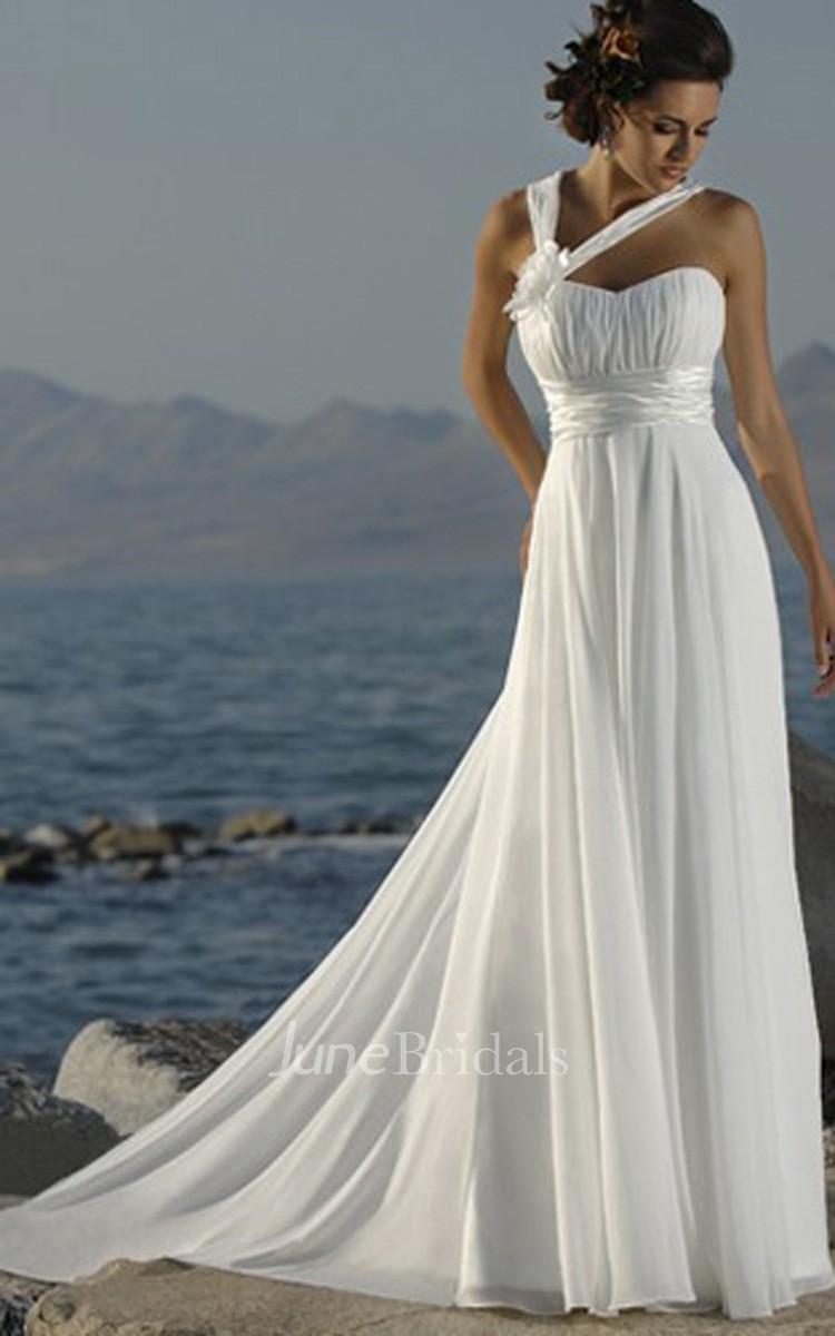 50aa3d3548a2bd Casual Asymmetric Straps Sweetheart Empire Chiffon Dress - June Bridals