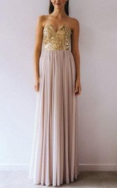Strapless Notched Floor-Length Dress With Pleats And Sequins