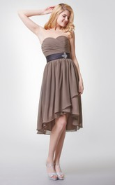 Sleeveless Pleated High Low Chiffon Dress With Beaded Brooch