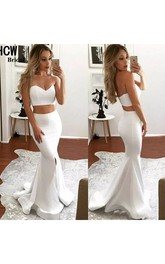 Mermaid Two Piece Sweetheart Sleeveless Satin Dress