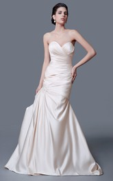 Inspired Sweetheart Backless Taffeta Ruched Mermaid Dress