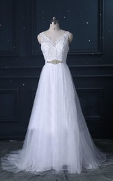 V-neck Sleeveless A-line Tulle And Lace Wedding Dress With Beaded Sash