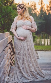 Fairy Off-the-shoulder A-line Long Lace Maternity Dress