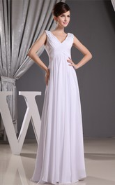 Plunged Caped-Sleeve Criss-Cross Long Dress with Beading and Empire Waist