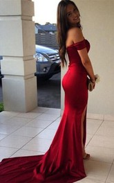 Modern Off-the-Shoulder Mermaid Prom Dresses 2018 Front Split