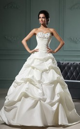 Sweetheart Sleeveless Pick-Up A-Line Gown With Lace And Ruching
