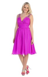 Plunging Neckline Short Chiffon Dress With Sequined Straps and V Back