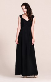 Plunging Neck Long Bridesmaid  Dress With Illusion Back