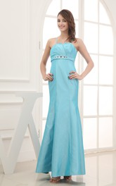 Sleeveless Criss-Cross Ruched Dress With Spaghetti Straps Beaded Waist