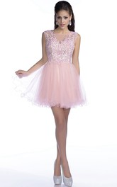 Sleeveless Short A-Line Tulle Prom Dress With Sequined Lace Bodice