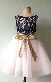 Strapless Lace Bodice Tulle Dress With Sequins&Flower