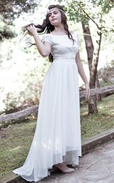 Short Mini Tea-Length Chiffon Lace Wedding Dress