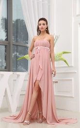 Strapless Chiffon Dress With Empire Waist and Front Slit