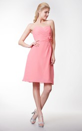 Sweetheart Short Chiffon Dress With Flower and Side Draping