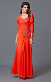 One shoulder Long Chiffon Mother of the Bride Dress