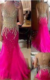 Glamorous Beadings Mermaid Evening Dress 2018 Zipper Sweep Train