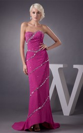 Sweetheart Chiffon High-Low Dress with Beading and Brush Train