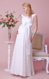 Scoop Cap-sleeved Empire Lace Long Maternity Wedding Dress With Satin Bow