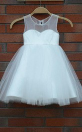 Knee-length Sweetheart Tulle  Dress With Keyhole Back