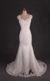 Straps Mermaid Long Satin Wedding Dress With Crystal Detailing And Sash