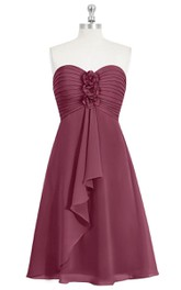 Chiffon A-Line Sweetheart Ruched Dress With Flowers and Front Draping
