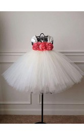 Cap Sleeve Pleated Empire Waist Tulle Ball Gown With Coral and Ivory Flower Bust