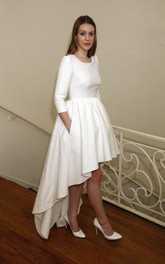 Modest Jewel Neck Short Front Long Back Wedding Dress With 3-4 Long Sleeves