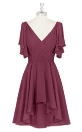 V-Neck Chiffon A-Line Dress With Ruching and Asymmetrical Hemline