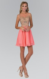 A-Line Short Scoop-Neck Sleeveless Chiffon Illusion Dress With Beading And Pleats