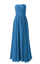 Strapless Asymmetrical Ruched Bodice Long Pleated Chiffon Dress