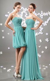 Chiffon Strapless Dress With Draping And Ruced Waist