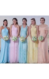A-line Halter Sleeveless Floor-length Chiffon Bridesmaid Dress with Pleats