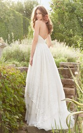 Angelic Sweetheart Neckline Crisscross Ruched Bodice a Line Lace Dress