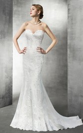 Sweetheart Mermaid Lace Long Wedding Dress
