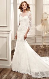 3-4-Sleeve Mermaid Lace Wedding Dress With Illusion Back And Court Train