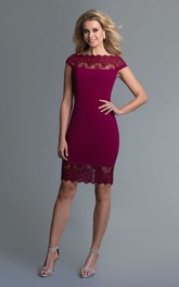 Pencil Knee-Length Bateau Short Sleeve Jersey Illusion Dress With Lace