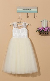 Illusion Sheer Neck Tulle&Lace Dress With Flower&Sash Ribbon