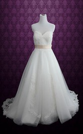 Sweetheart Backless Long Tulle Wedding Dress With Sash And Appliques