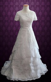 Modest Short Sleeves Lace Church White Conservative Harper Dress