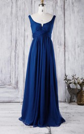 Scoop Neck Sleeveless Empire Pleated A-line Chiffon Long Dress