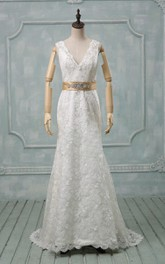 V-Neck Deep-V Back Sheath Lace Wedding Dress With Sash And Crystal Detailing