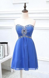 Empire Short Strapless Chiffon Dress With Beading