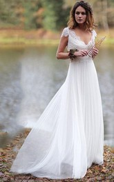 Simple Sheath Chiffon and Lace Floor Length Bridal Gown