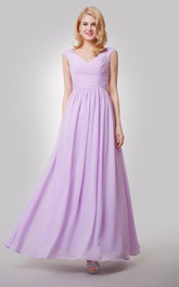 Cap-Sleeved V-Neck Pleated Chiffon Dress With Ruching and Back Bow