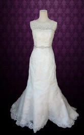 Scalloped Button Back Mermaid Lace Wedding Dress With Sash And Crystal Detailing