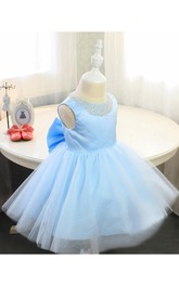 Glitz Beaded Neckline Sleeveless Tulle Pageant Dress With Bow Sash