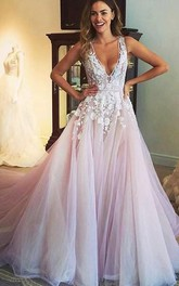 Sexy Sleeveless V-Neck  Tulle Dress With Appliques